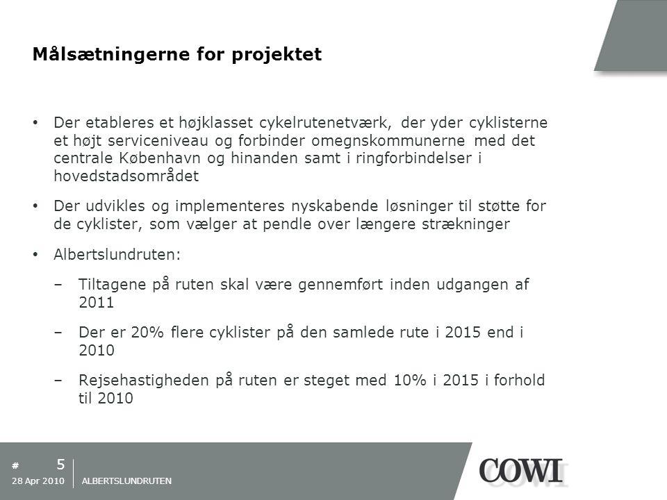 # Målsætningerne for projektet  Der etableres et højklasset cykelrutenetværk, der yder cyklisterne et højt serviceniveau og forbinder omegnskommunerne med det centrale København og hinanden samt i ringforbindelser i hovedstadsområdet  Der udvikles og implementeres nyskabende løsninger til støtte for de cyklister, som vælger at pendle over længere strækninger  Albertslundruten: –Tiltagene på ruten skal være gennemført inden udgangen af 2011 –Der er 20% flere cyklister på den samlede rute i 2015 end i 2010 –Rejsehastigheden på ruten er steget med 10% i 2015 i forhold til 2010 5 28 Apr 2010 ALBERTSLUNDRUTEN