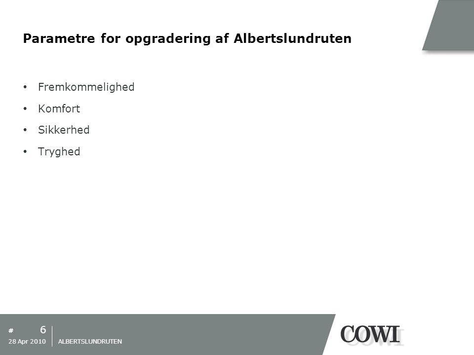 # Parametre for opgradering af Albertslundruten  Fremkommelighed  Komfort  Sikkerhed  Tryghed 6 28 Apr 2010 ALBERTSLUNDRUTEN