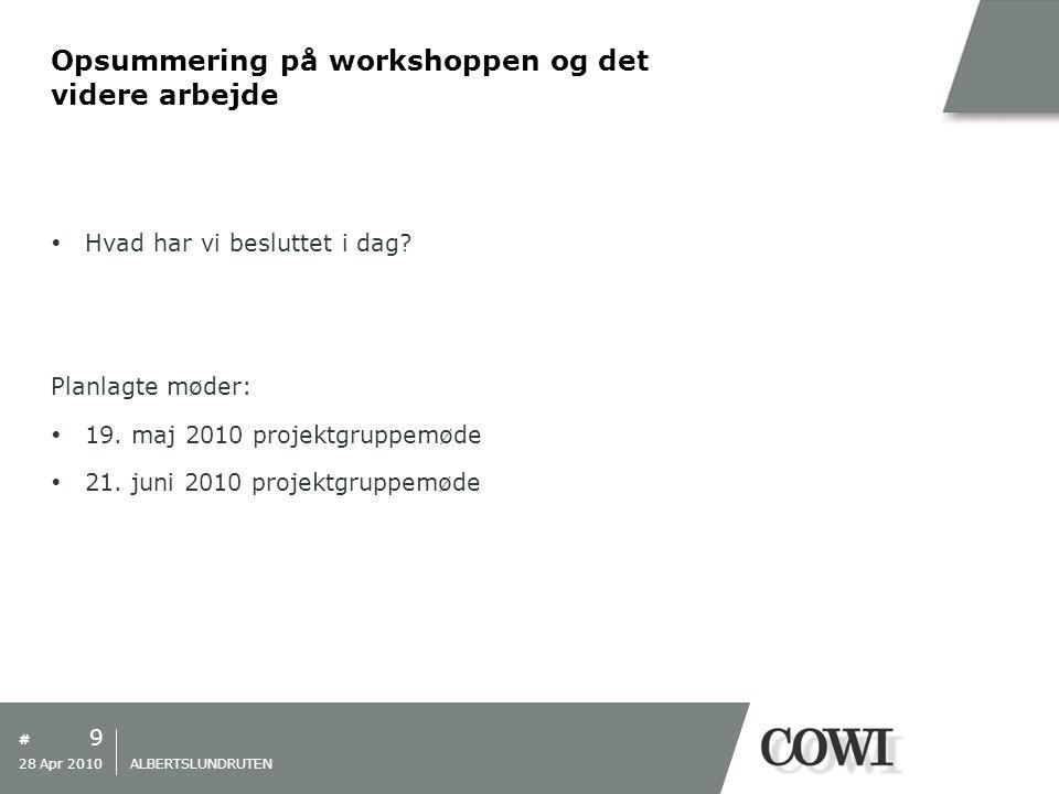 # Opsummering på workshoppen og det videre arbejde  Hvad har vi besluttet i dag.