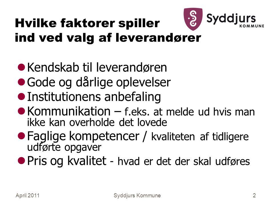 April 2011Syddjurs Kommune2 Hvilke faktorer spiller ind ved valg af leverandører lKendskab til leverandøren lGode og dårlige oplevelser lInstitutionens anbefaling lKommunikation – f.eks.