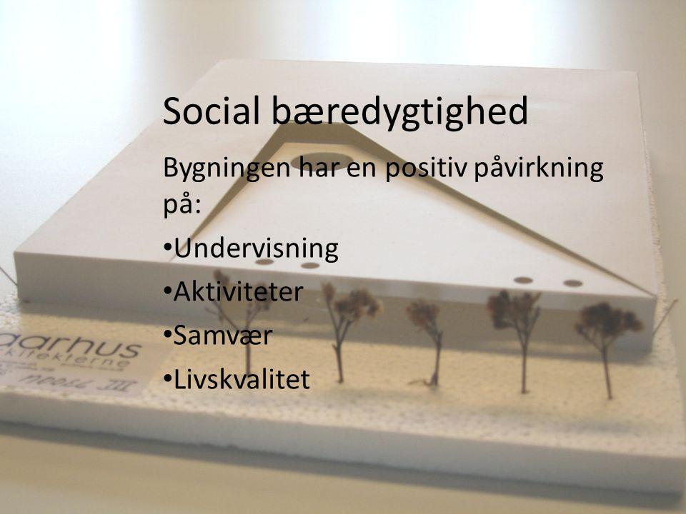 Social bæredygtighed Bygningen har en positiv påvirkning på: Undervisning Aktiviteter Samvær Livskvalitet