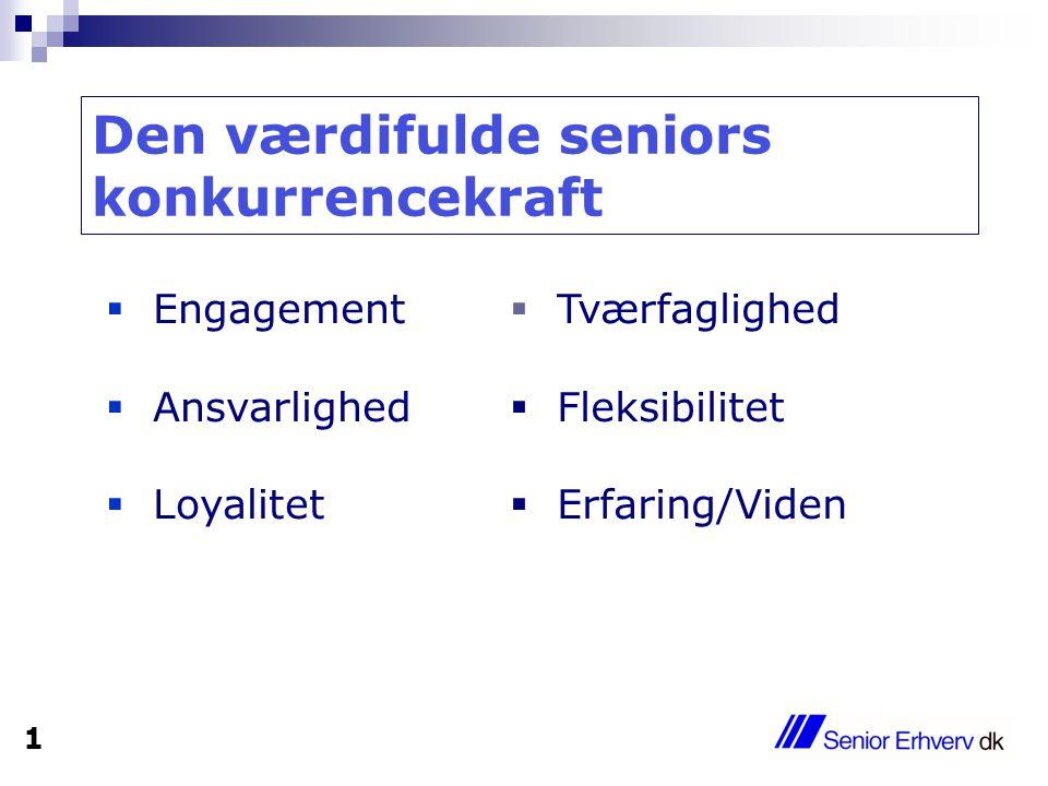 Engagement  Ansvarlighed  Loyalitet  Tværfaglighed  Fleksibilitet  Erfaring/Viden Den værdifulde seniors konkurrencekraft 1