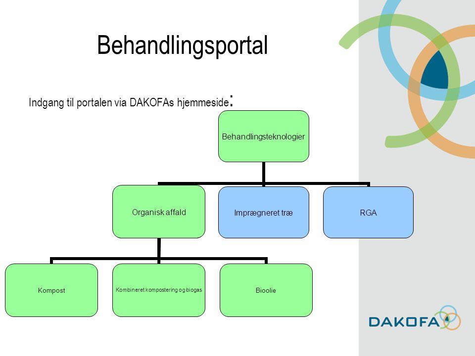 Behandlingsportal Indgang til portalen via DAKOFAs hjemmeside : Behandlingsteknologier Organisk affaldImprægneret træRGA Organisk affald Kompost Kombineret kompostering og biogas Bioolie