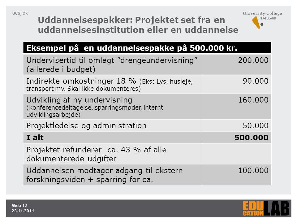 23.11.2014 Slide 12 Uddannelsespakker: Projektet set fra en uddannelsesinstitution eller en uddannelse Eksempel på en uddannelsespakke på 500.000 kr.