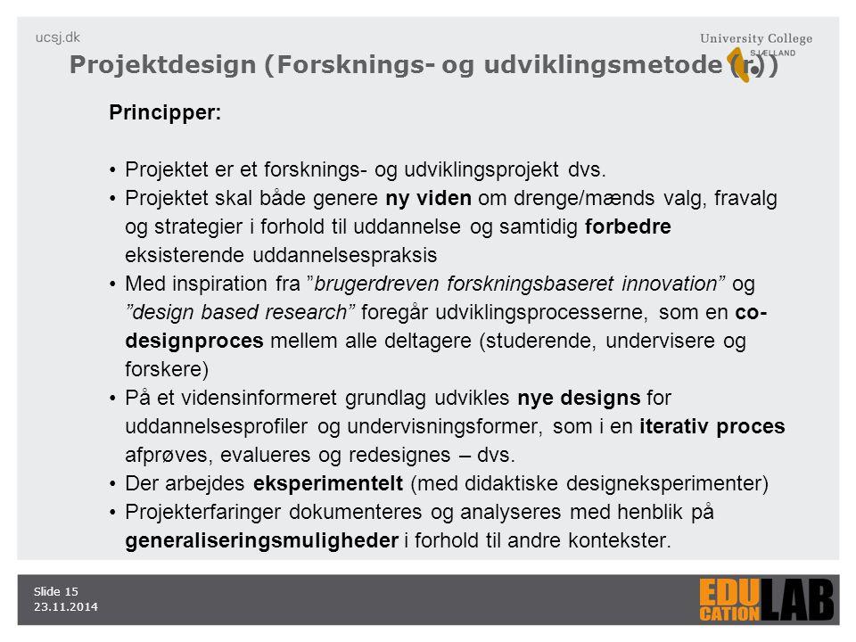 23.11.2014 Slide 15 Principper: Projektet er et forsknings- og udviklingsprojekt dvs.
