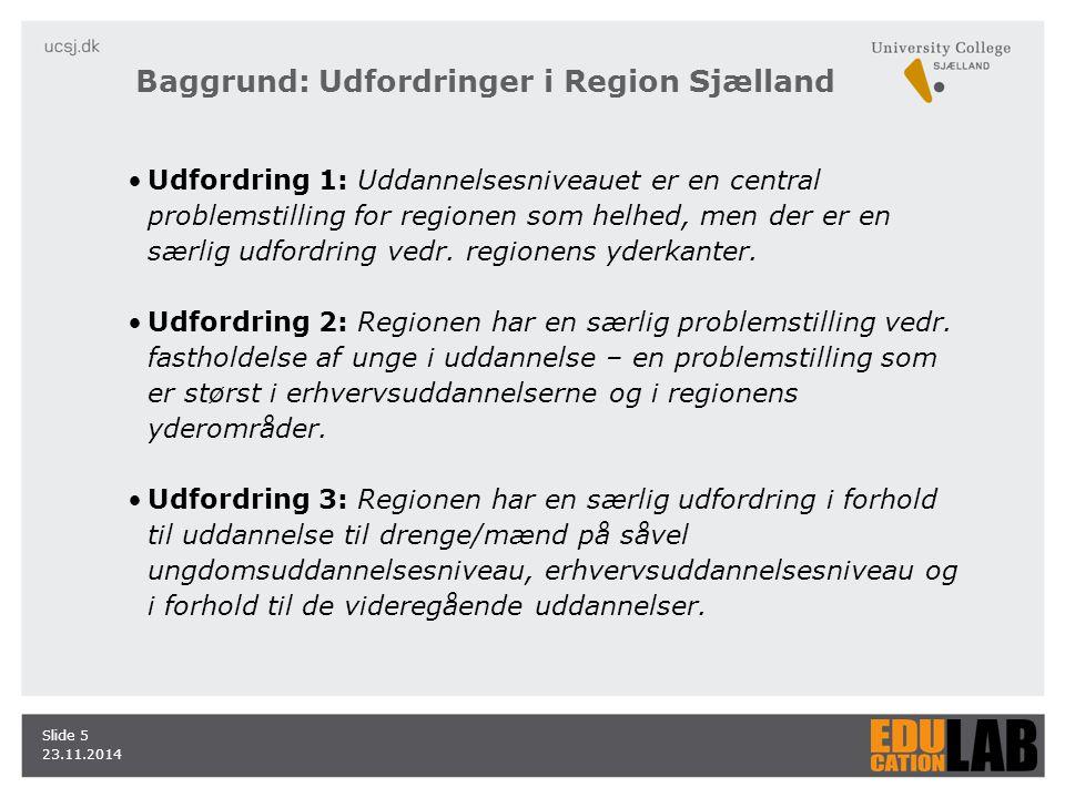 23.11.2014 Slide 5 Udfordring 1: Uddannelsesniveauet er en central problemstilling for regionen som helhed, men der er en særlig udfordring vedr.