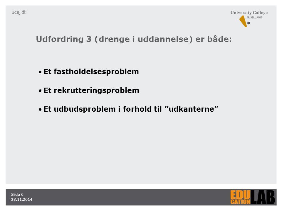23.11.2014 Slide 6 Et fastholdelsesproblem Et rekrutteringsproblem Et udbudsproblem i forhold til udkanterne Udfordring 3 (drenge i uddannelse) er både: