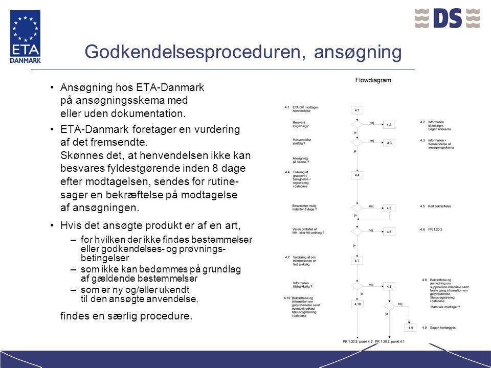 Godkendelsesproceduren, ansøgning Ansøgning hos ETA-Danmark på ansøgningsskema med eller uden dokumentation.
