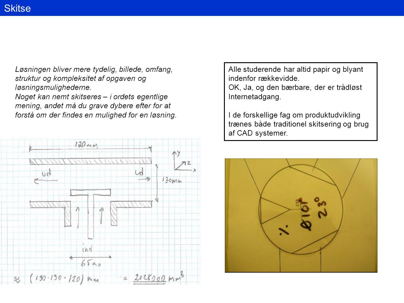 Skitse Løsningen bliver mere tydelig, billede, omfang, struktur og kompleksitet af opgaven og løsningsmulighederne.