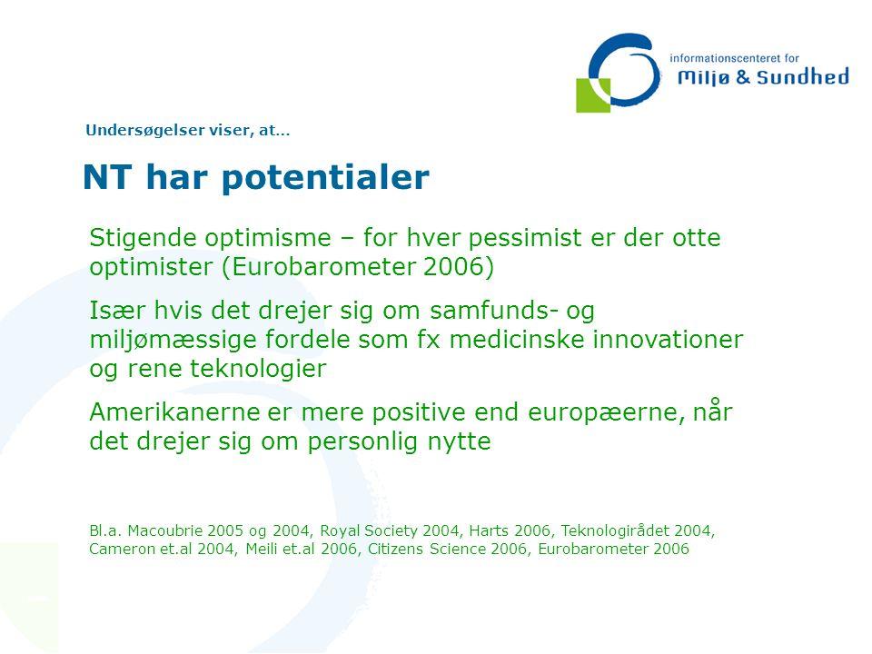 Undersøgelser viser, at… NT har potentialer Stigende optimisme – for hver pessimist er der otte optimister (Eurobarometer 2006) Især hvis det drejer sig om samfunds- og miljømæssige fordele som fx medicinske innovationer og rene teknologier Amerikanerne er mere positive end europæerne, når det drejer sig om personlig nytte Bl.a.
