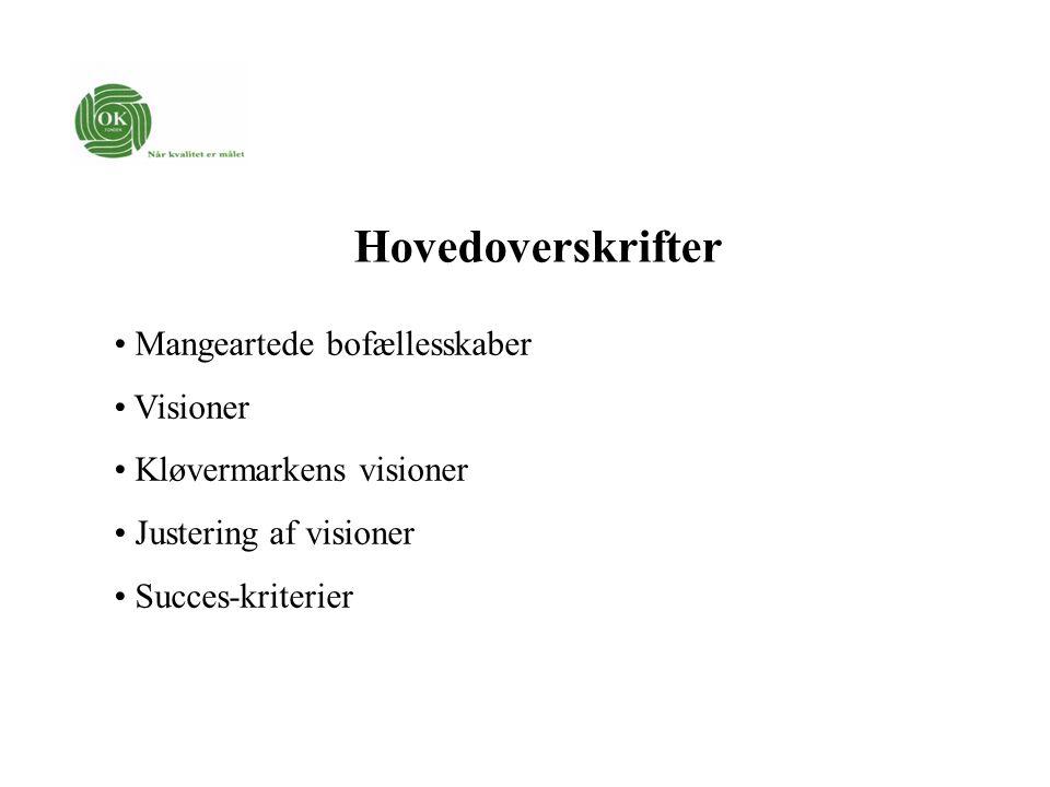 Hovedoverskrifter Mangeartede bofællesskaber Visioner Kløvermarkens visioner Justering af visioner Succes-kriterier