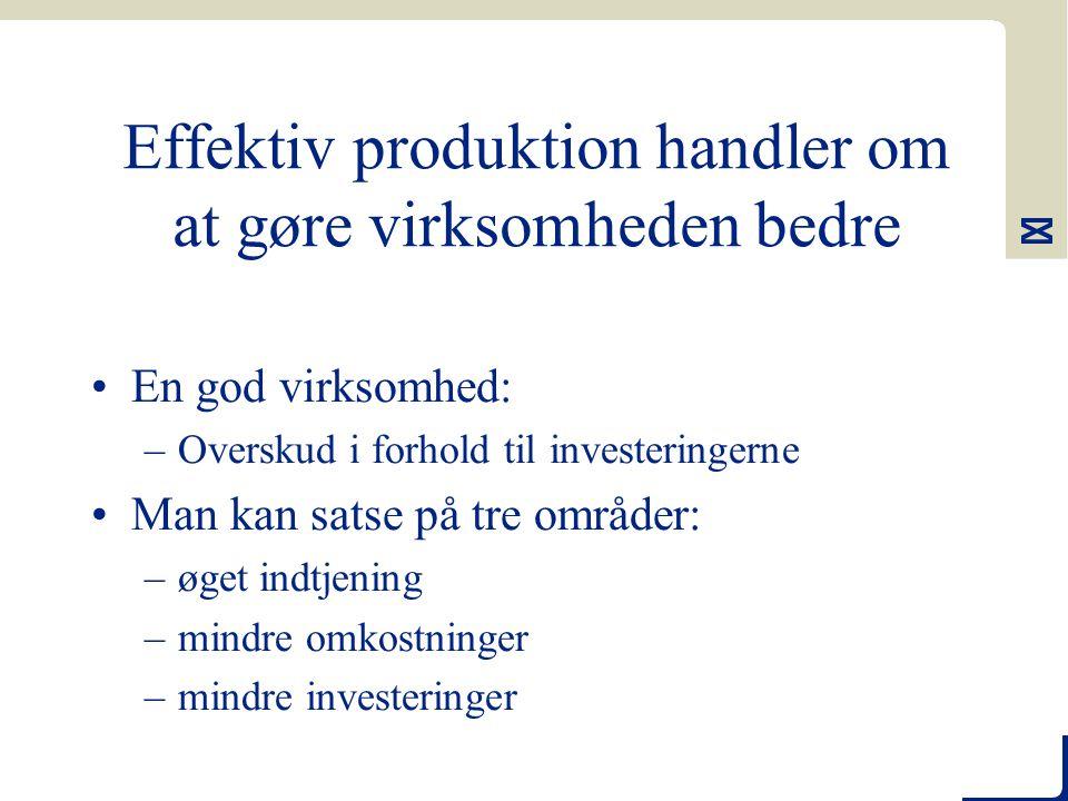 Effektiv produktion handler om at gøre virksomheden bedre En god virksomhed: –Overskud i forhold til investeringerne Man kan satse på tre områder: –øget indtjening –mindre omkostninger –mindre investeringer