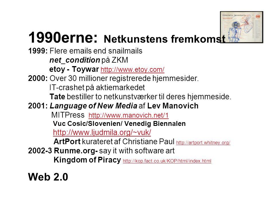 1990erne: Netkunstens fremkomst 1999: Flere emails end snailmails net_condition på ZKM etoy - Toywar http://www.etoy.com/ 2000: Over 30 millioner registrerede hjemmesider.