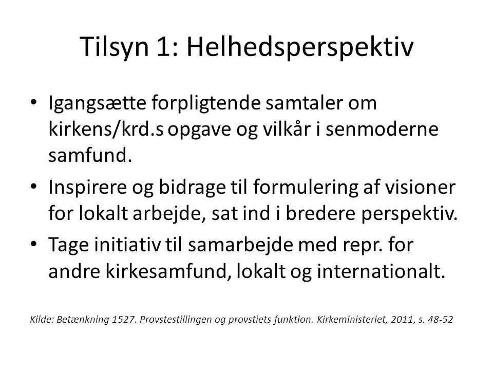 Tilsyn 1: Helhedsperspektiv Igangsætte forpligtende samtaler om kirkens/krd.s opgave og vilkår i senmoderne samfund.