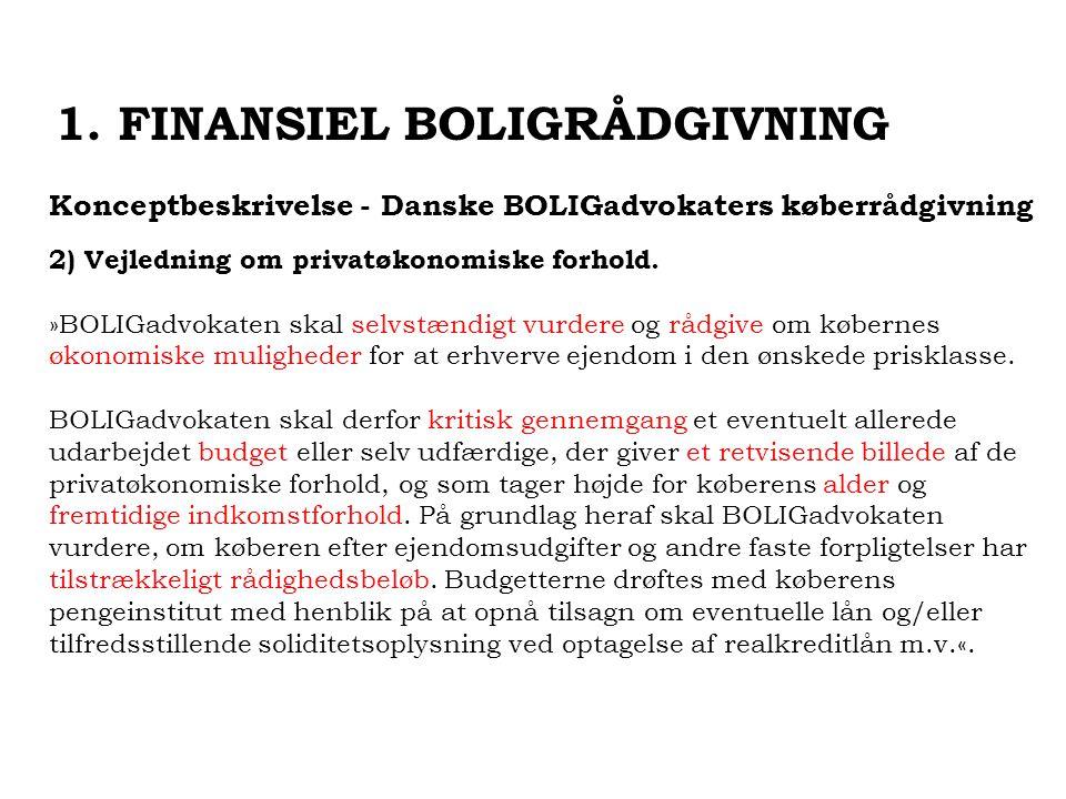 Konceptbeskrivelse - Danske BOLIGadvokaters køberrådgivning 2) Vejledning om privatøkonomiske forhold.