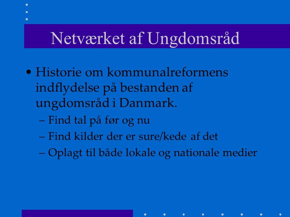 Netværket af Ungdomsråd Historie om kommunalreformens indflydelse på bestanden af ungdomsråd i Danmark.
