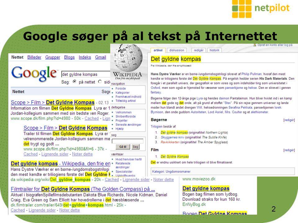 Google søger på al tekst på Internettet 2