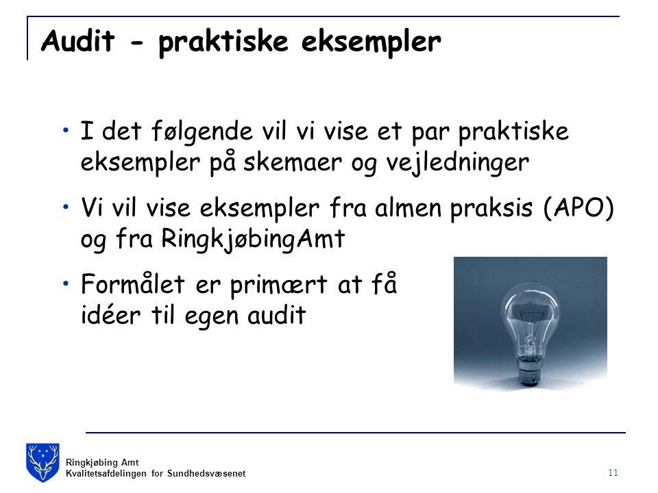 Ringkjøbing Amt Kvalitetsafdelingen for Sundhedsvæsenet 11 Audit - praktiske eksempler I det følgende vil vi vise et par praktiske eksempler på skemaer og vejledninger Vi vil vise eksempler fra almen praksis (APO) og fra RingkjøbingAmt Formålet er primært at få idéer til egen audit