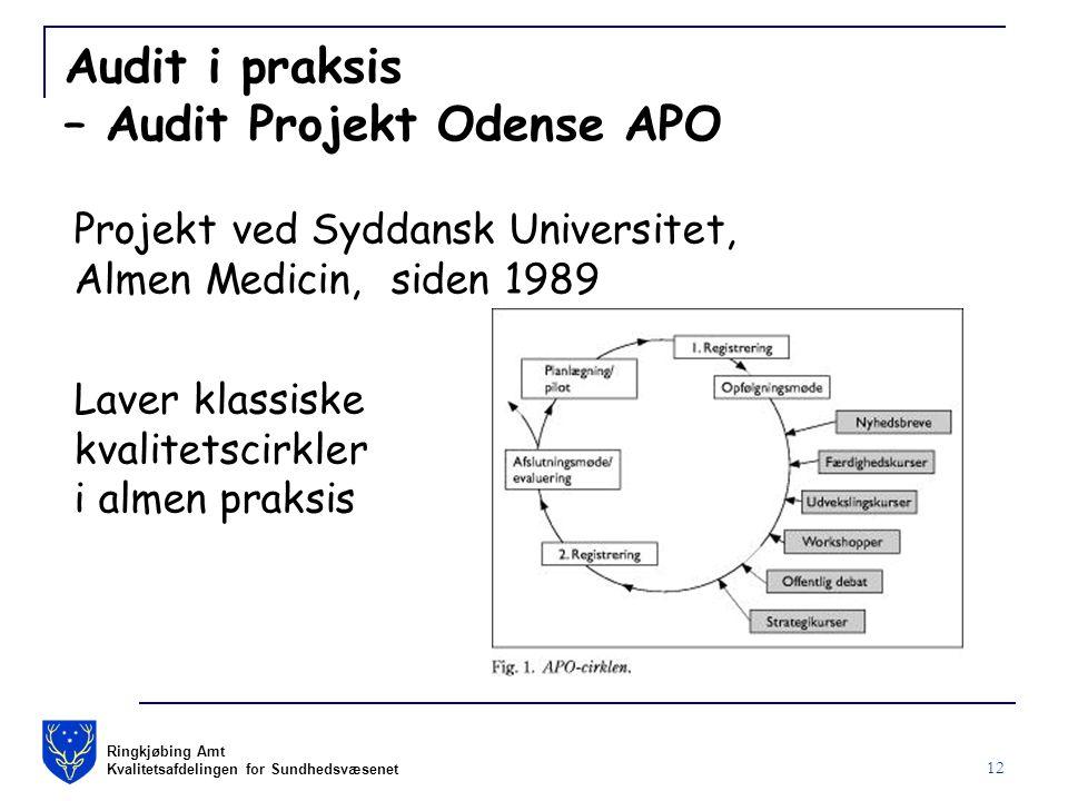 Ringkjøbing Amt Kvalitetsafdelingen for Sundhedsvæsenet 12 Audit i praksis – Audit Projekt Odense APO Projekt ved Syddansk Universitet, Almen Medicin, siden 1989 Laver klassiske kvalitetscirkler i almen praksis