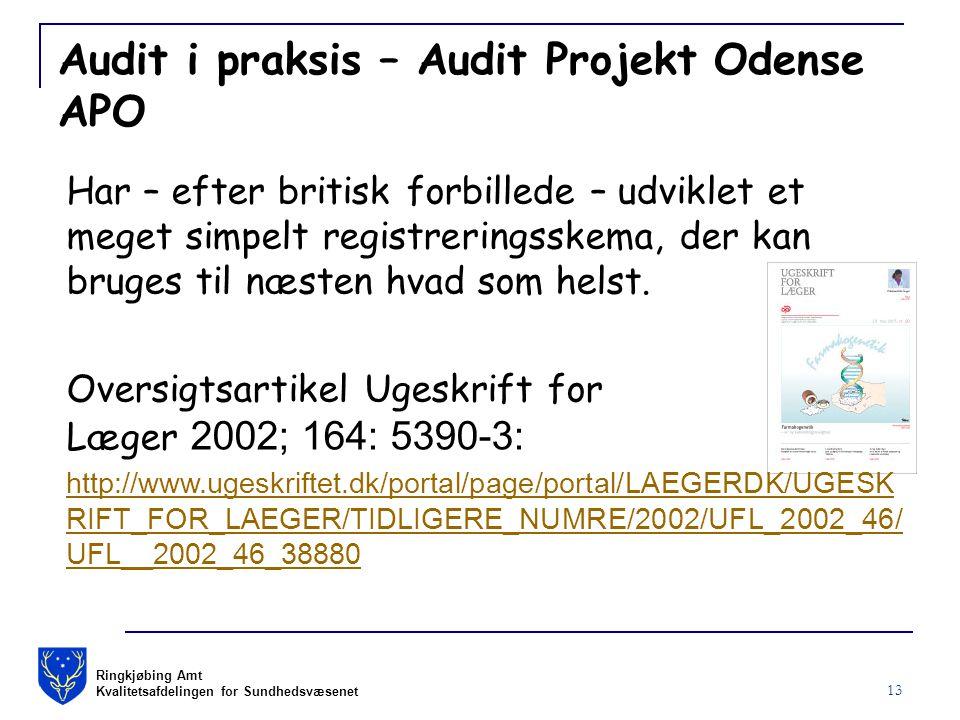 Ringkjøbing Amt Kvalitetsafdelingen for Sundhedsvæsenet 13 Audit i praksis – Audit Projekt Odense APO Har – efter britisk forbillede – udviklet et meget simpelt registreringsskema, der kan bruges til næsten hvad som helst.