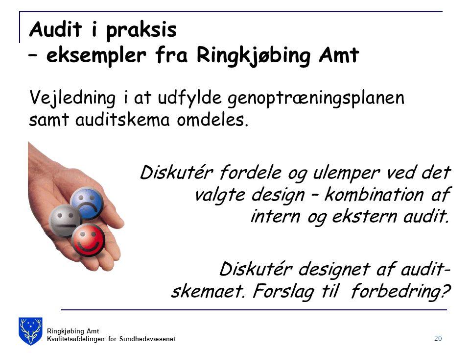 Ringkjøbing Amt Kvalitetsafdelingen for Sundhedsvæsenet 20 Audit i praksis – eksempler fra Ringkjøbing Amt Vejledning i at udfylde genoptræningsplanen samt auditskema omdeles.