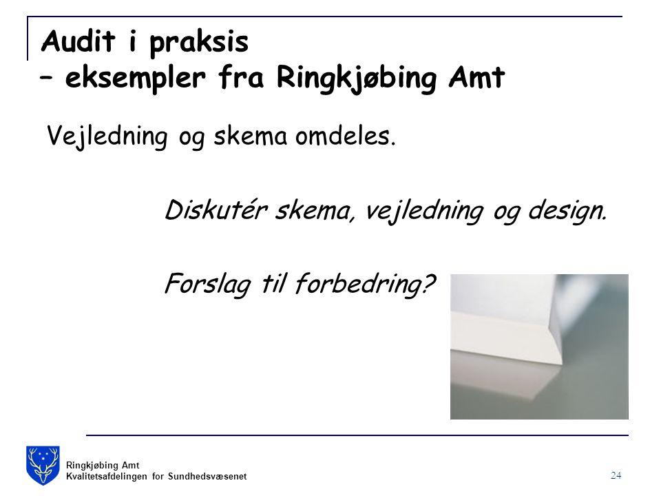 Ringkjøbing Amt Kvalitetsafdelingen for Sundhedsvæsenet 24 Audit i praksis – eksempler fra Ringkjøbing Amt Vejledning og skema omdeles.