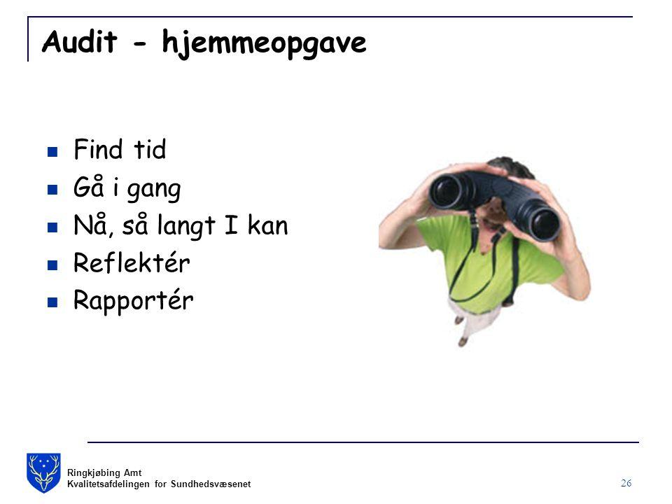 Ringkjøbing Amt Kvalitetsafdelingen for Sundhedsvæsenet 26 Audit - hjemmeopgave Find tid Gå i gang Nå, så langt I kan Reflektér Rapportér