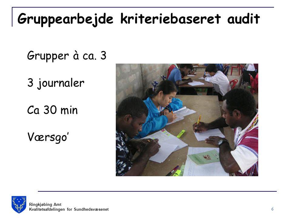 Ringkjøbing Amt Kvalitetsafdelingen for Sundhedsvæsenet 6 Gruppearbejde kriteriebaseret audit Grupper à ca.