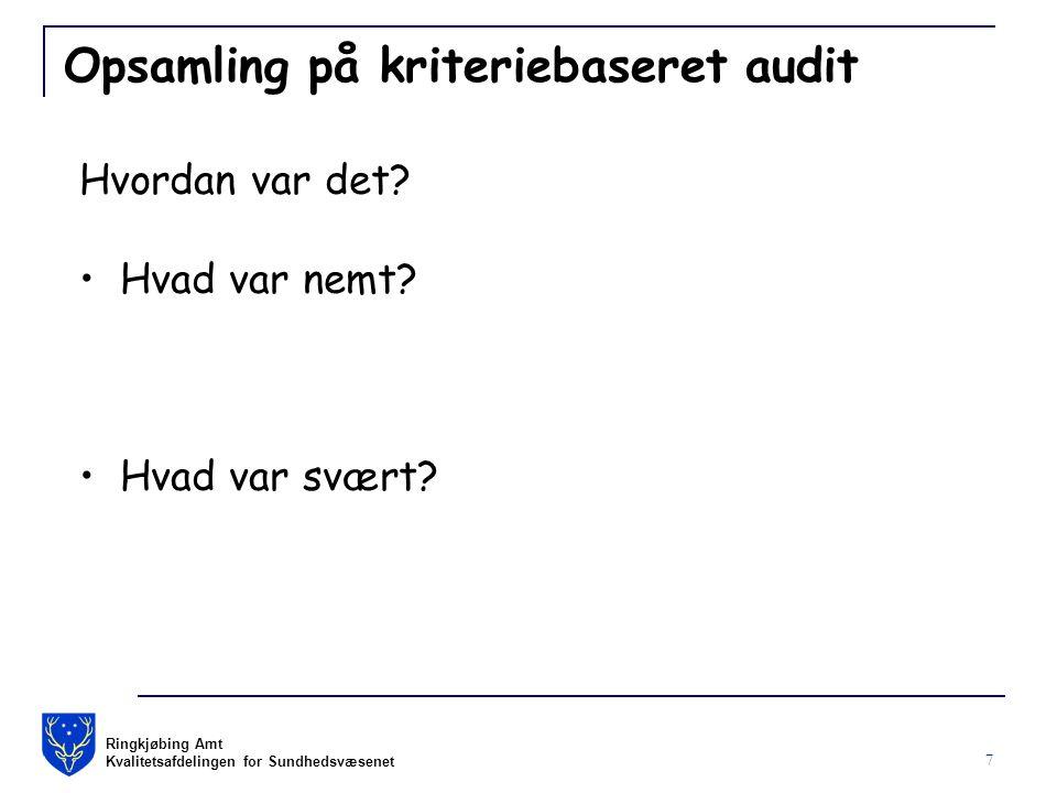 Ringkjøbing Amt Kvalitetsafdelingen for Sundhedsvæsenet 7 Opsamling på kriteriebaseret audit Hvordan var det.