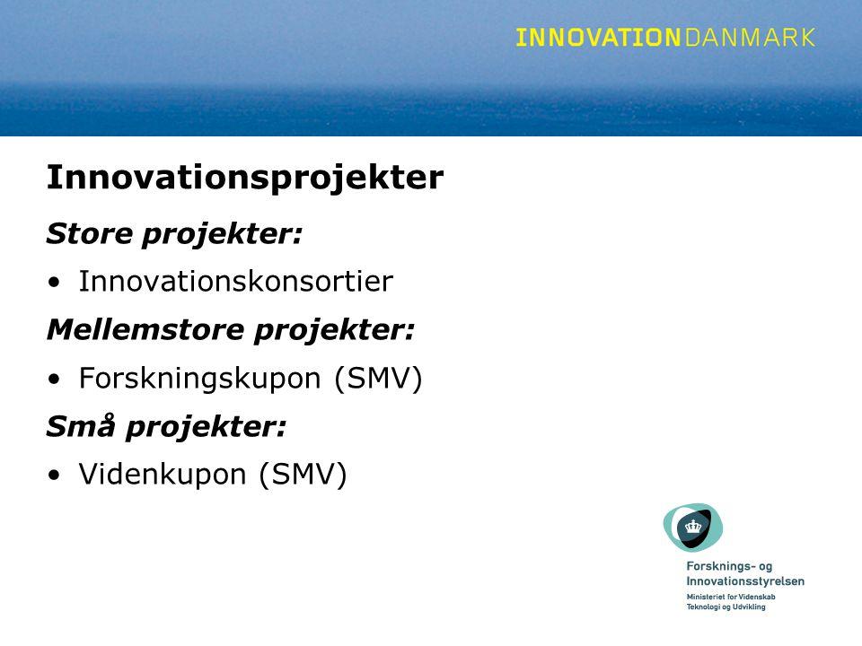 Innovationsprojekter Store projekter: Innovationskonsortier Mellemstore projekter: Forskningskupon (SMV) Små projekter: Videnkupon (SMV)