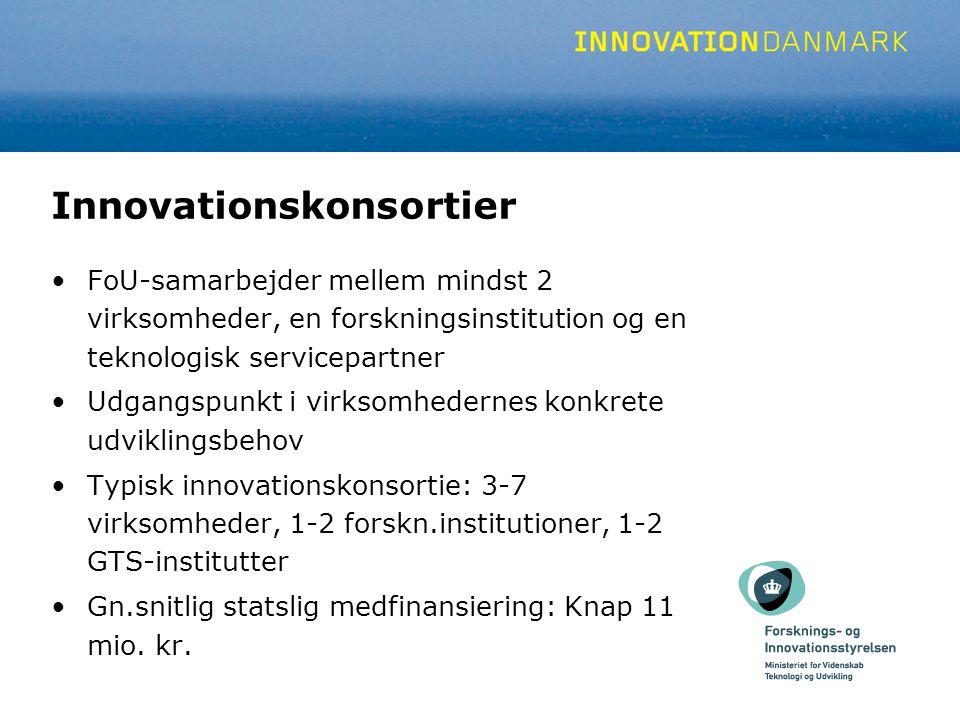 Innovationskonsortier FoU-samarbejder mellem mindst 2 virksomheder, en forskningsinstitution og en teknologisk servicepartner Udgangspunkt i virksomhedernes konkrete udviklingsbehov Typisk innovationskonsortie: 3-7 virksomheder, 1-2 forskn.institutioner, 1-2 GTS-institutter Gn.snitlig statslig medfinansiering: Knap 11 mio.