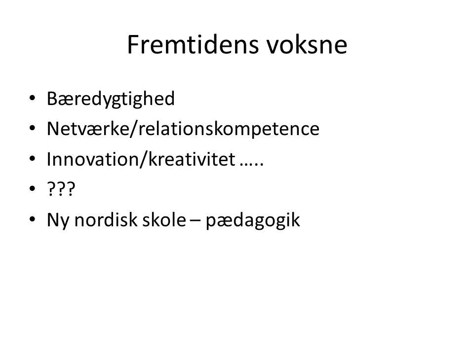 Fremtidens voksne Bæredygtighed Netværke/relationskompetence Innovation/kreativitet …..