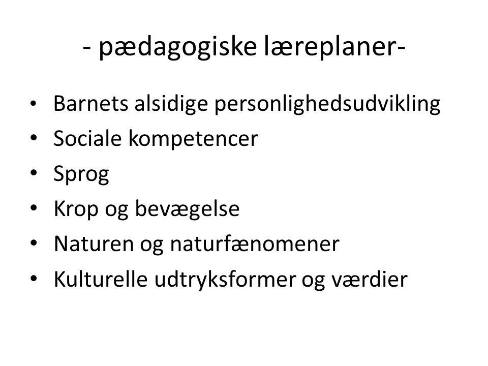 - pædagogiske læreplaner- Barnets alsidige personlighedsudvikling Sociale kompetencer Sprog Krop og bevægelse Naturen og naturfænomener Kulturelle udtryksformer og værdier