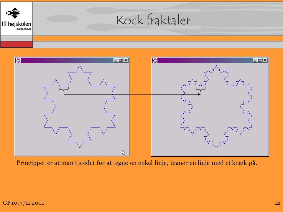 GP 10, 7/11 200112 Kock fraktaler Princippet er at man i stedet for at tegne en enkel linje, tegner en linje med et knæk på.