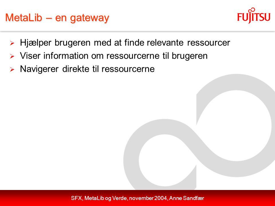 SFX, MetaLib og Verde, november 2004, Anne Sandfær MetaLib – en gateway  Hjælper brugeren med at finde relevante ressourcer  Viser information om ressourcerne til brugeren  Navigerer direkte til ressourcerne