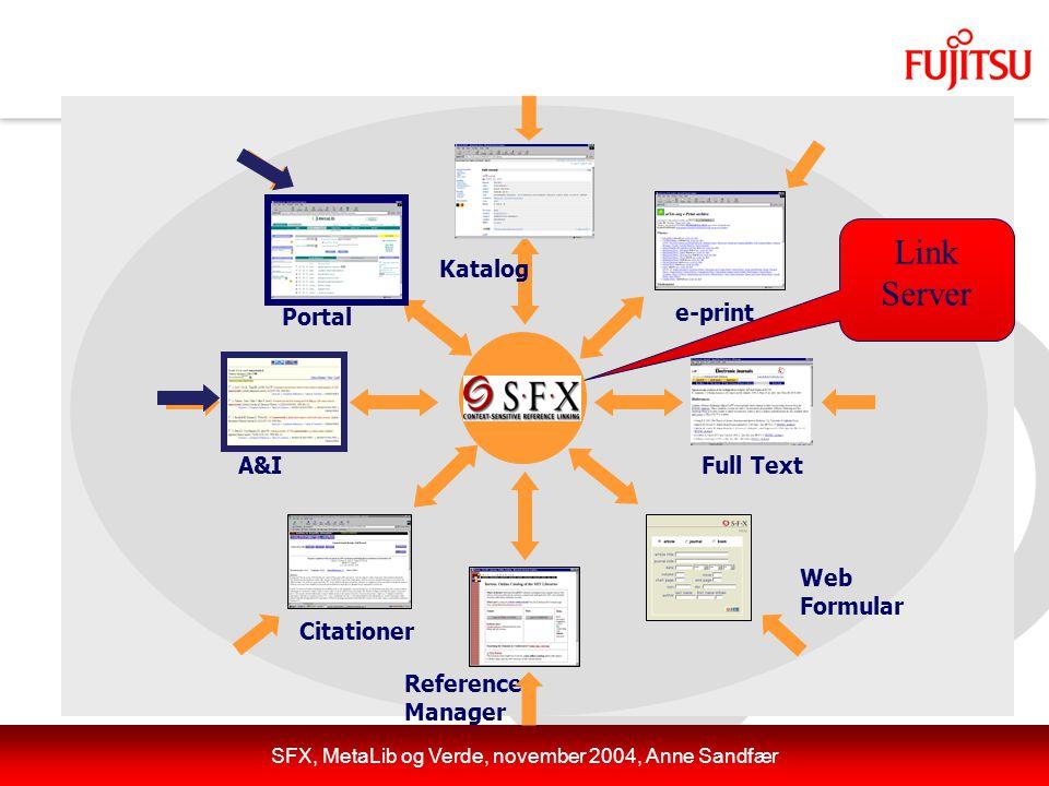 SFX, MetaLib og Verde, november 2004, Anne Sandfær A&I e-print Full Text Citationer Web Formular Reference Manager Katalog Link Server Portal