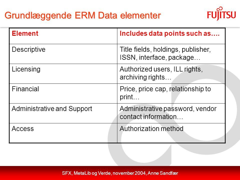 SFX, MetaLib og Verde, november 2004, Anne Sandfær Grundlæggende ERM Data elementer ElementIncludes data points such as….