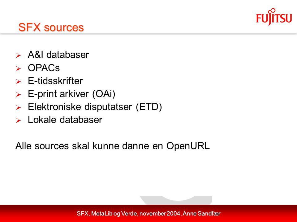 SFX, MetaLib og Verde, november 2004, Anne Sandfær  A&I databaser  OPACs  E-tidsskrifter  E-print arkiver (OAi)  Elektroniske disputatser (ETD)  Lokale databaser Alle sources skal kunne danne en OpenURL SFX sources