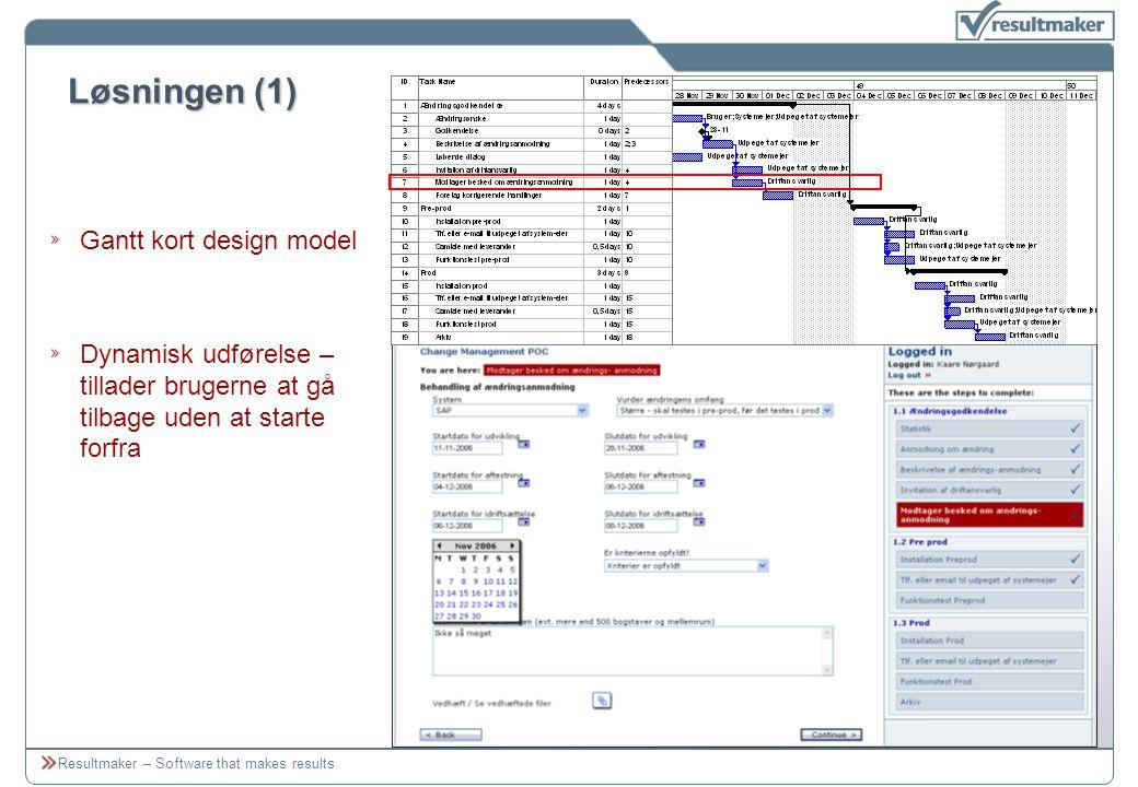 Resultmaker – Software that makes results Løsningen (1) Gantt kort design model Dynamisk udførelse – tillader brugerne at gå tilbage uden at starte forfra