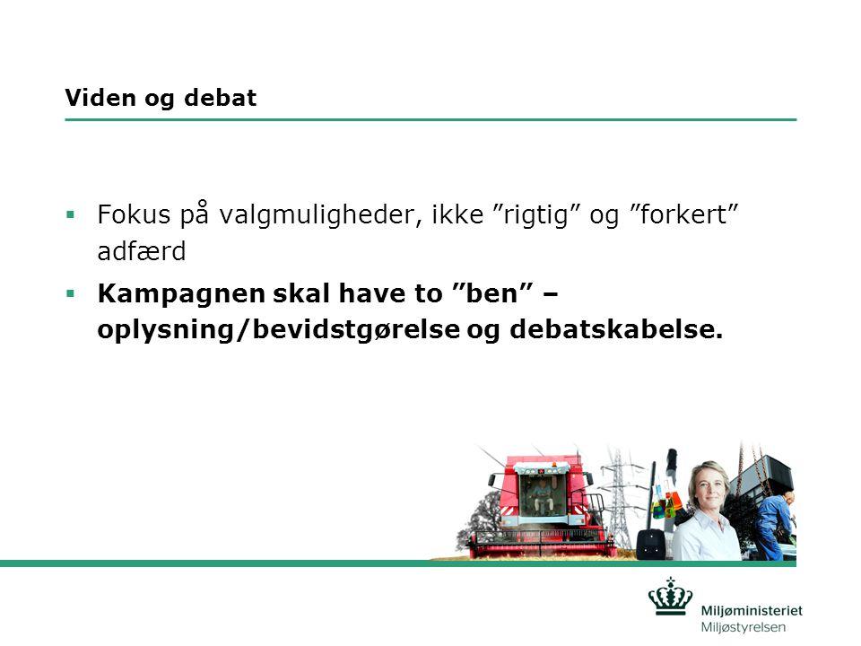 Viden og debat  Fokus på valgmuligheder, ikke rigtig og forkert adfærd  Kampagnen skal have to ben – oplysning/bevidstgørelse og debatskabelse.