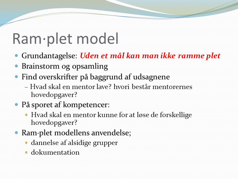 Ram·plet model Grundantagelse: Uden et mål kan man ikke ramme plet Brainstorm og 0psamling Find overskrifter på baggrund af udsagnene – Hvad skal en mentor lave.