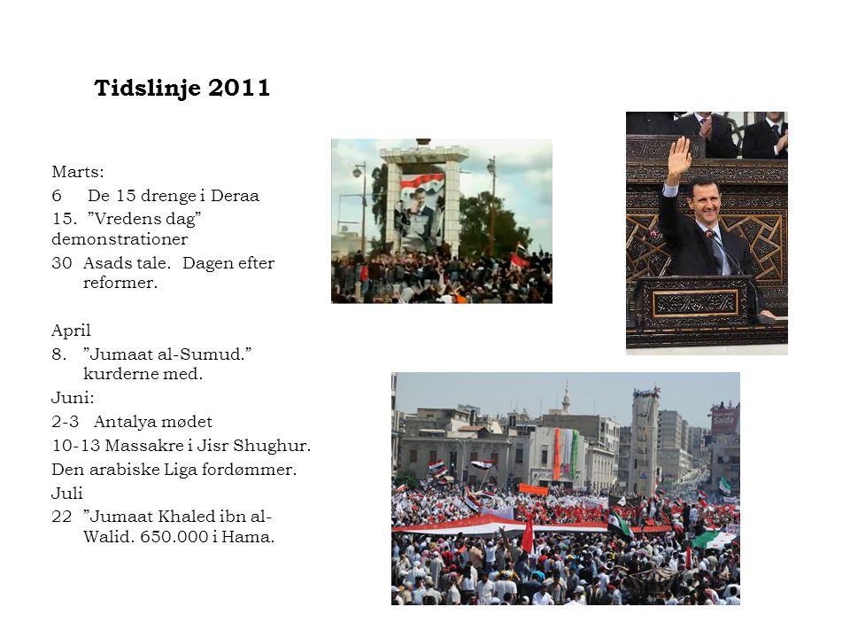 Tidslinje 2011 Marts: 6 De 15 drenge i Deraa 15. Vredens dag demonstrationer 30Asads tale.