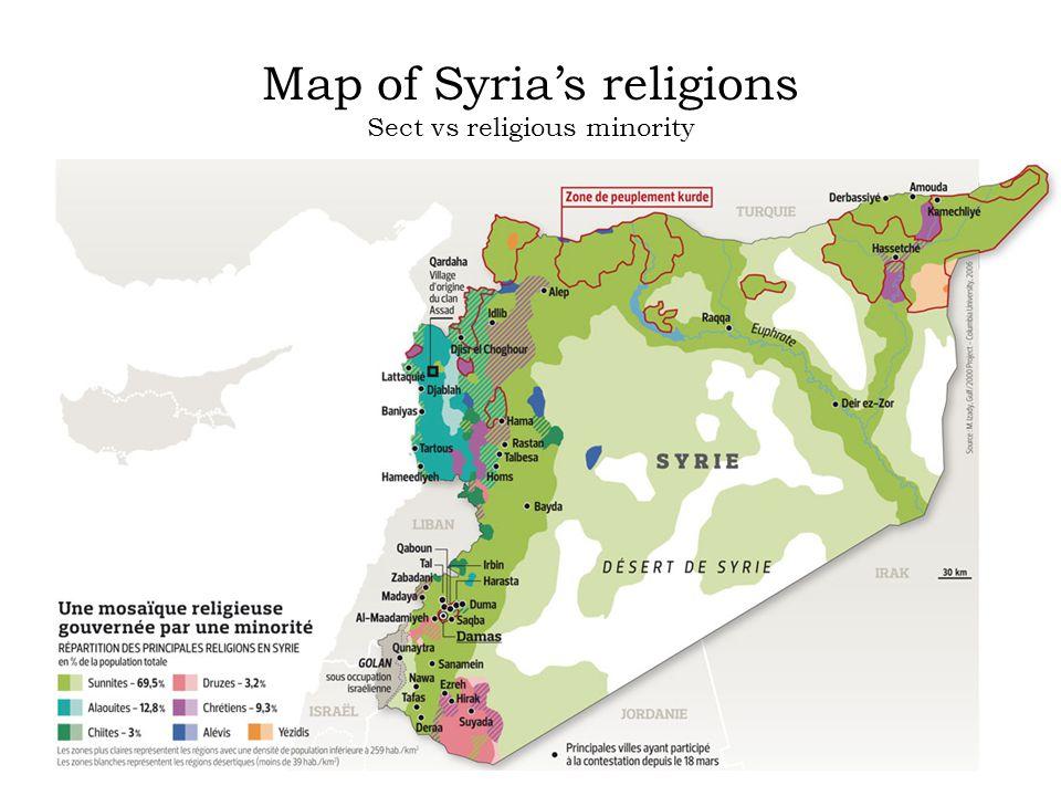 Map of Syria's religions Sect vs religious minority