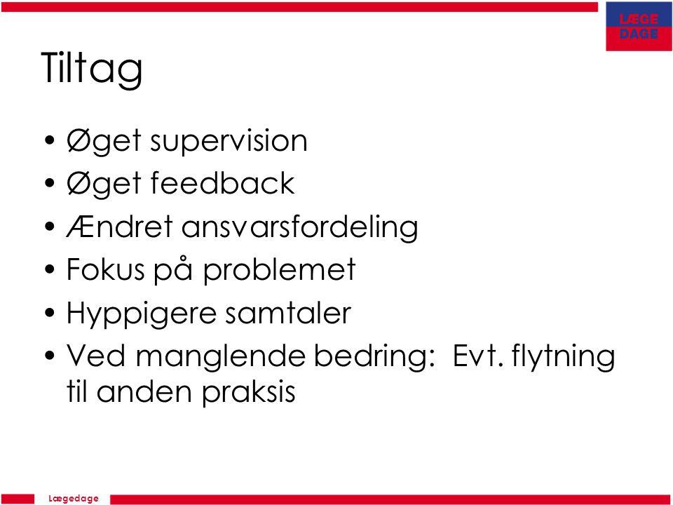 Lægedage Tiltag Øget supervision Øget feedback Ændret ansvarsfordeling Fokus på problemet Hyppigere samtaler Ved manglende bedring: Evt.