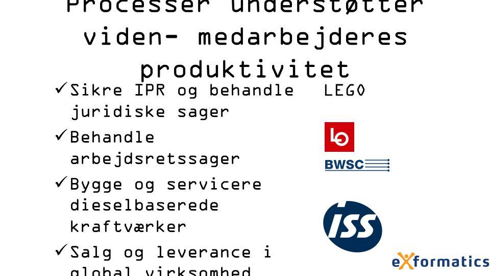 Processer understøtter viden- medarbejderes produktivitet Sikre IPR og behandle juridiske sager Behandle arbejdsretssager Bygge og servicere dieselbaserede kraftværker Salg og leverance i global virksomhed LEGO
