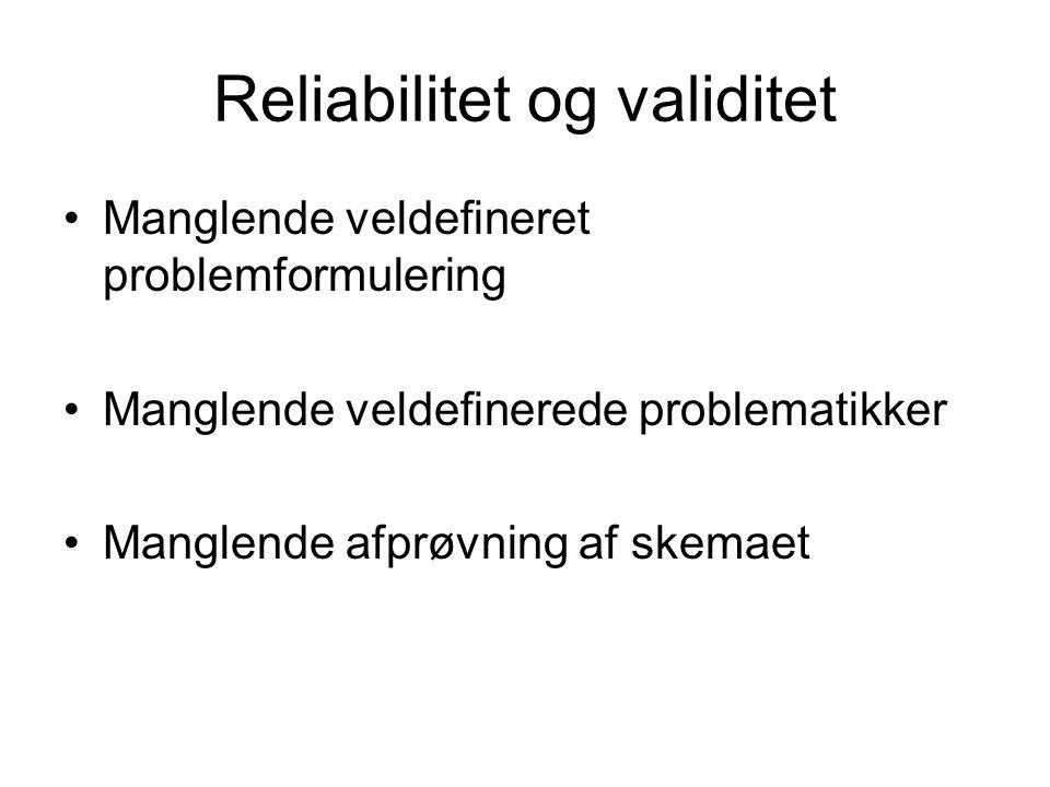 Reliabilitet og validitet Manglende veldefineret problemformulering Manglende veldefinerede problematikker Manglende afprøvning af skemaet