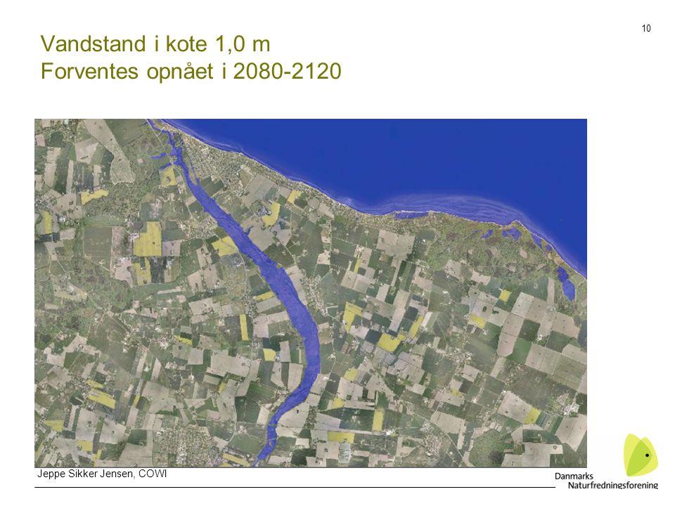 10 Vandstand i kote 1,0 m Forventes opnået i 2080-2120 Jeppe Sikker Jensen, COWI