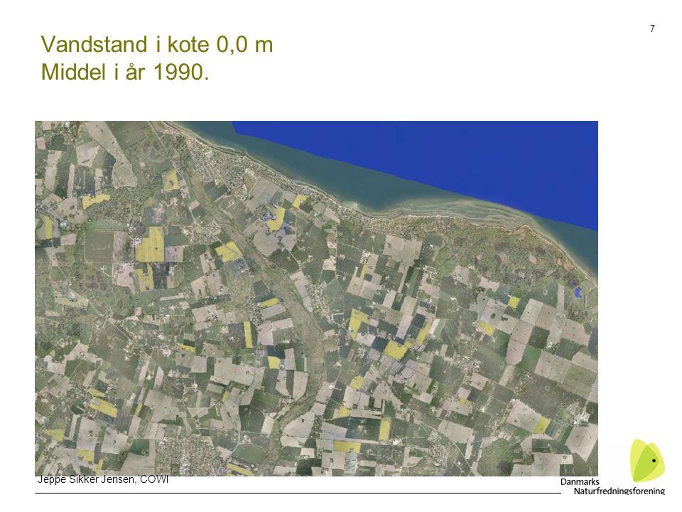 7 Vandstand i kote 0,0 m Middel i år 1990. Jeppe Sikker Jensen, COWI