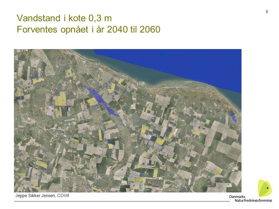 8 Vandstand i kote 0,3 m Forventes opnået i år 2040 til 2060 Jeppe Sikker Jensen, COWI