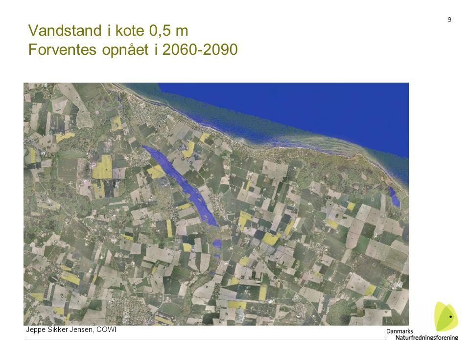 9 Vandstand i kote 0,5 m Forventes opnået i 2060-2090 Jeppe Sikker Jensen, COWI